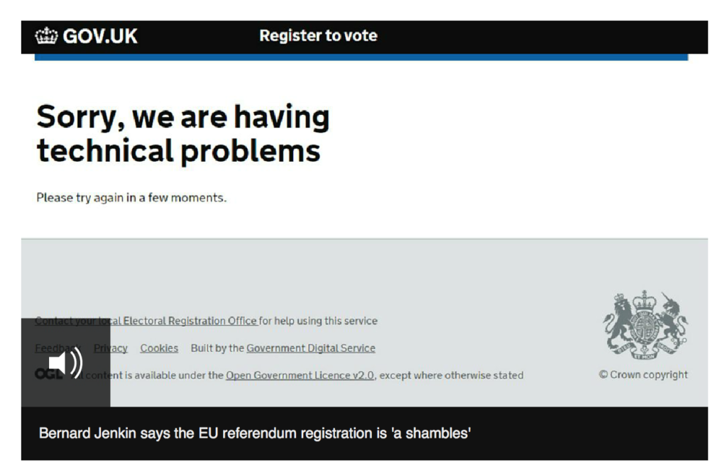 Register To Vote Extended - Gov.uk Website Down (taken from the BBC Article)