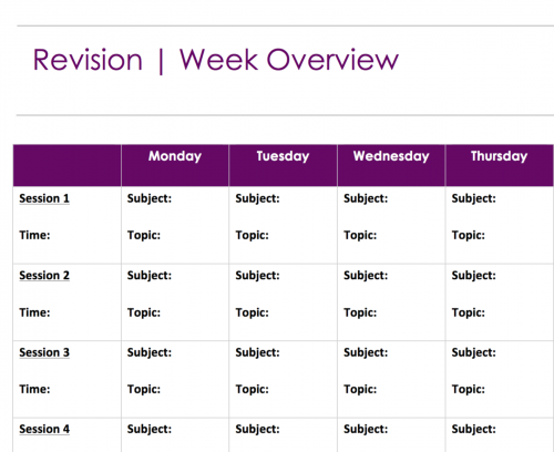 Free Weekly Revision Schedule PDF