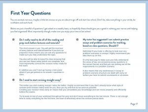 Ebook Sneak Peek - First Year Questions