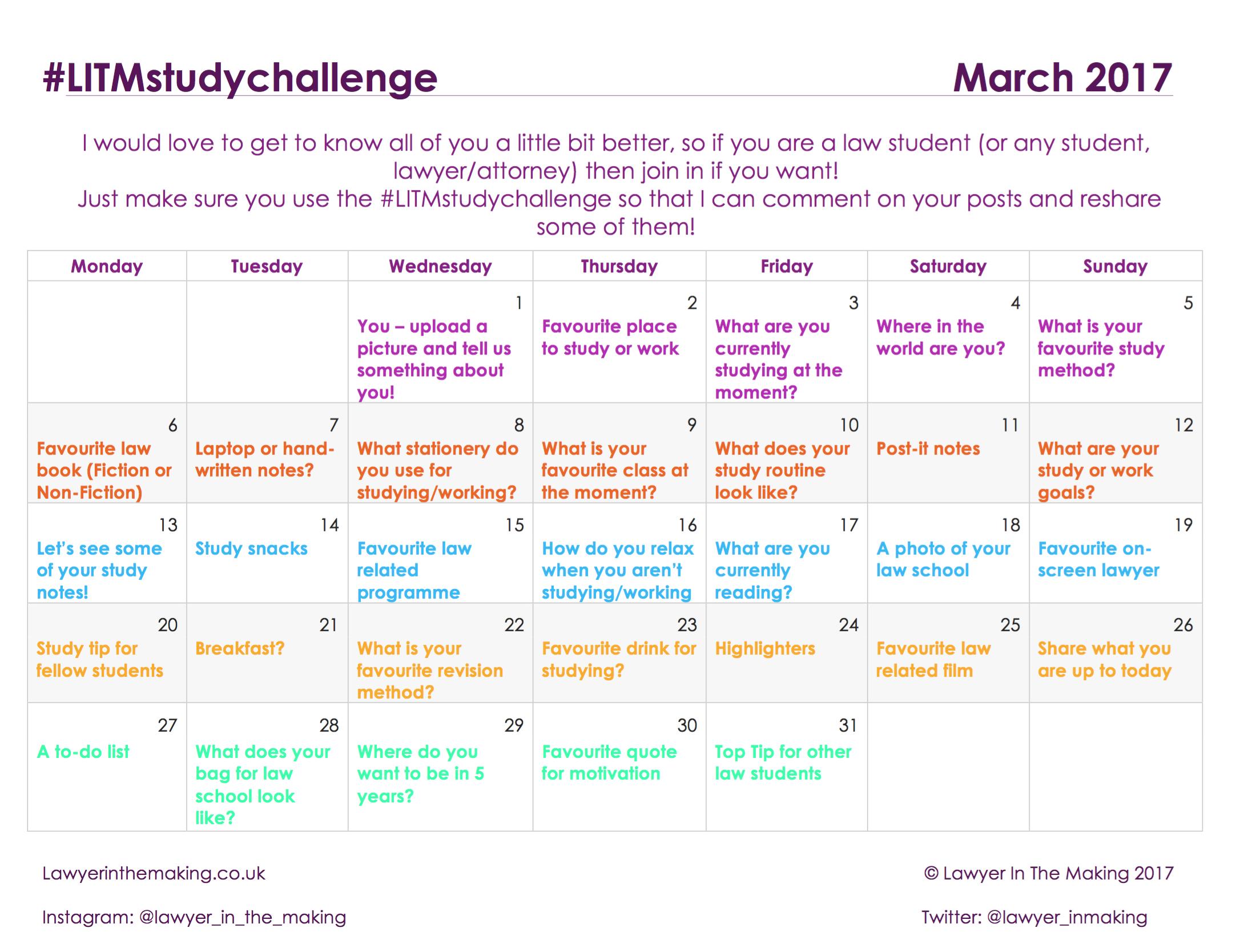 LITM | Instagram Study Challenge March 2017